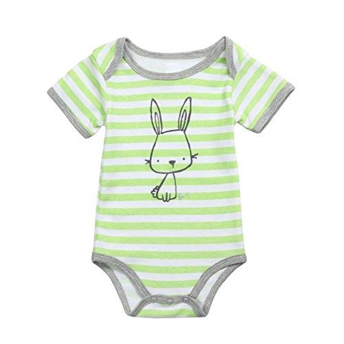 FEITONG Newborn Kids Baby Girls Boys Clothes Short Sleeve Stripe Cartoon Romper Jumpsuit Pajamas (Green, 6-9M) -