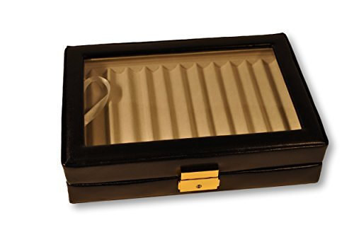 Budd Leather Company Leather Pen Box with Glass Top, Pack of 12, Black (500432-1)