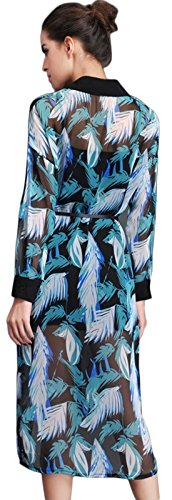 Blcswan Women's Chiffon Leather Pattern Long Button Down Shirt Green Size US 2