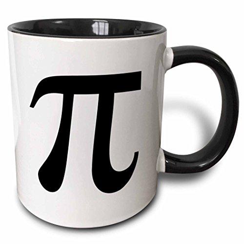 3dRose mug_164891_4 Pi symbol math sign Mathematical black and white mathematics number - Two Tone Black Mug, 11oz