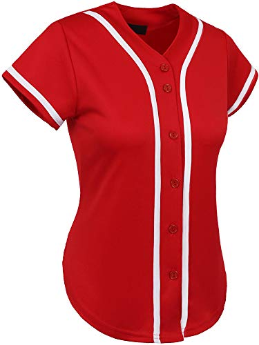 Hat and Beyond Womens Baseball Button Down Athletic Tee Short Sleeve Softball Jersey Active Plain Sport T Shirt (Medium, 3up01 Red/White) ()