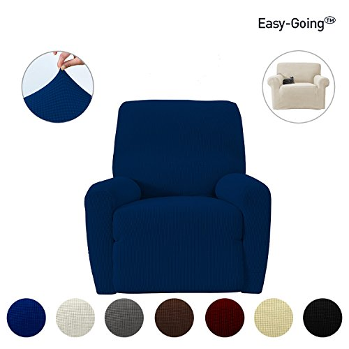 Stretch Recliner sofa Slipcovers sofa cover ,Furniture Protector with Elastic Bottom Strap, Sofa Pets Shield, Polyester Spandex Jacquard Fabric Small Checks four piece by Easy-Going (Recliner, Navy) - Blue Fabric Recliner