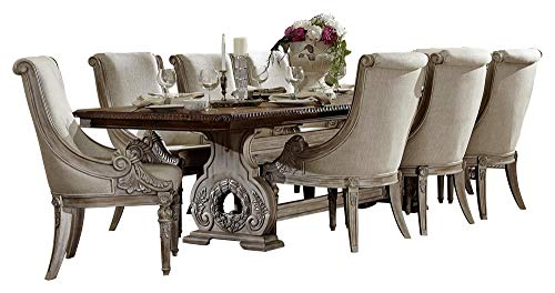 Chambord French Country 9PC Dining Set Table & 8 Chair in Antique White ()