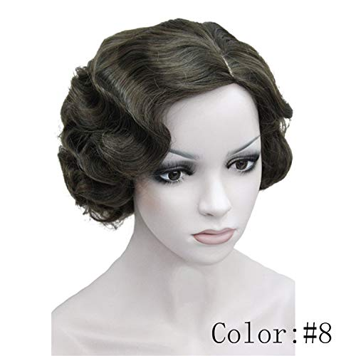 1920's Flapper Hairstyles for Women Finger Wave Wigs Retro Style Short Synthetic Wig,#8,8inches]()