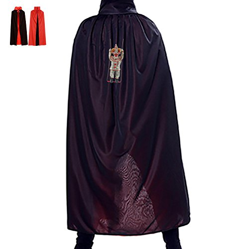Swinging Clown Reversible Halloween Cloak Party Cape Costume Red Black