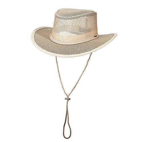Stetson Men's Mesh Covered Hat, Clay, (Dorfman Pacific Mesh Safari Hat)