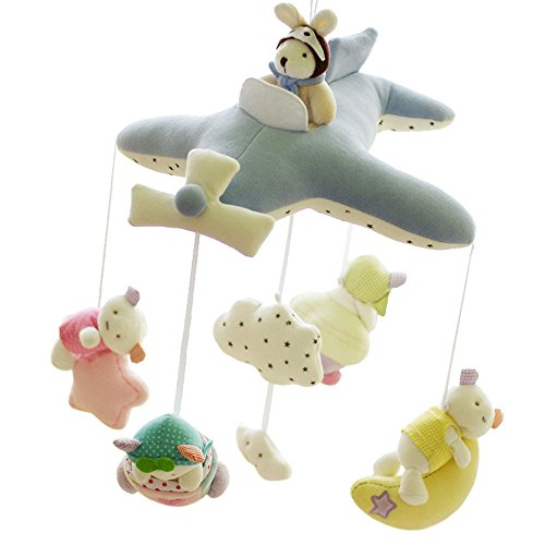 SHILOH Baby Crib Decoration Lullabies Plush Musical Mobile (Blue ()