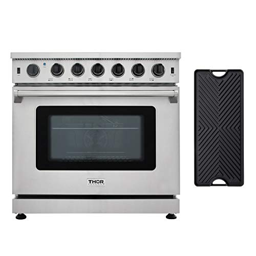 "Thor Kitchen 36"" Gas Range with 6.0 cu.ft Convection Oven in Stainless Steel, 6 Burners, Double Burner Reversible Griddle, LRG3601U"