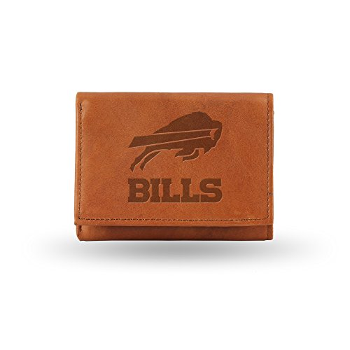 NFL Buffalo Bills Embossed Genuine Cowhide Leather Trifold Leather (Buffalo Bills Nfl Leather)
