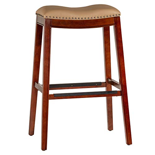 (DTY Indoor Living Durango Bonded Leather Saddle Stool, Cherry Finish, 30