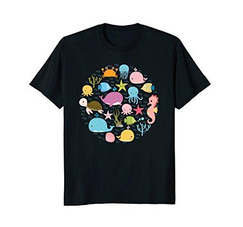 Sea Animal Tshirt - Cute Ocean Shirt With Fish For Summer