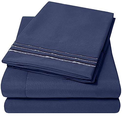 Bed Sheets Set(King - Navy Blue), Duck & Goose CO.100% Double Brushed Softest 4pcs 1800 Microfiber Hypoallergenic Bedding Set, Wrinkle, Fade, Stain Resistant