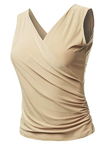 (Casual V Neck Sleeveless Cross Front Sexy Ruched Tank Top Beige S)