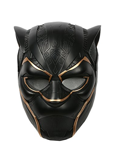 Deluxe Black And Gold Mask (xcoser Black Panther Helmet Deluxe Adult Mask Captain Halloween Party Cosplay Costume G)