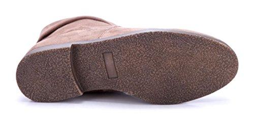 Schuhtempel24 Damen Schuhe Flache Stiefeletten Stiefel Boots Flach Schlupf 2 cm Khaki