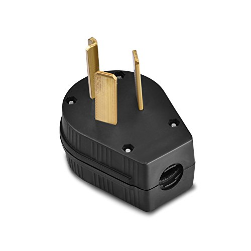 Aweking Nema 10-30P Power Plug Connector,30A 30 Amp,AC 125V 125 Volt,250V 250Volt,2 Pole 3 Wire,Grouding,Generator,Black (Dryer Cord Clothes)