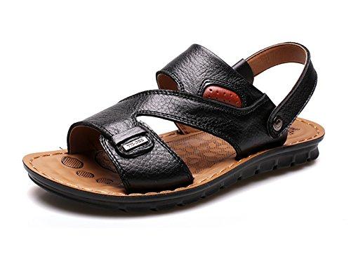 Town Black Sandals Beach Shoes No Men's Leather 66 Slipper TfpqwWzB6x