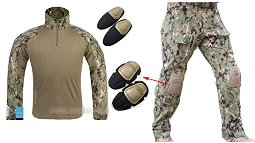 ilitary Emerson Gen3 G3 Men Shooting Hunting Combat Camo Suit (Shirt & Pants With Protective Elbow Knee Pads) AOR2 (XXL) ()