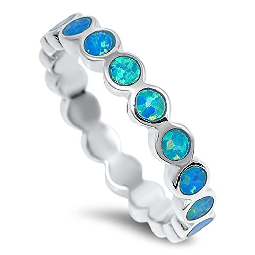 Sterling Silver Women's Blue Lab Opal Stackable Wedding Eternity Ring (Sizes 4-10) (Ring Size 6) by Prime Jewelry Collection