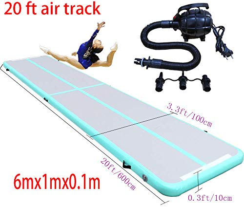 Fitnessandfun 20ft 6m×1m×0.1m Air Track Tumbling Mat for Gymnastics Inflatable Airtrack Floor Mats with Electric Air Pump for Home Use (Green)