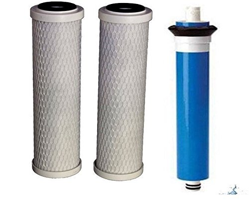 Combo Pack FX12M and FX12P comparable Replacement Filters, 2 Carbon Filters and 1 RO Membrane Filter, for GE GXRM10RBL RO Water Systems. Commercial Grade Extended Service Life by CFS