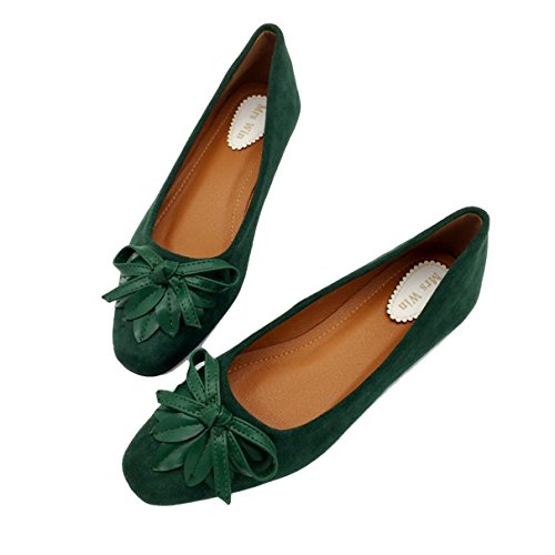 Owen Moll Women Flats, Concise Black Blue Green Slip-On Bowtie Work Ballet Loafers Shoes by Owen Moll