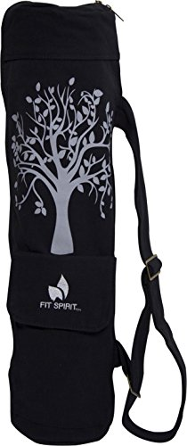 Fit Spirit Tree of Life Exercise Yoga Mat Bag w/ 2 Cargo Pockets - Black