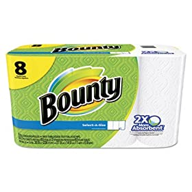Bounty 95005 Select-A-Size Perforated Roll Towels, 11 X 5.9, White, 63 Sheets/roll, 8/pack