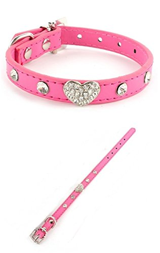 first-class-popular-pet-collar-size-l-heart-puppy-leather-suede-crystal-color-rose-red