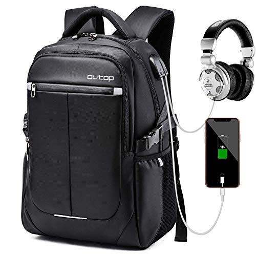 Outop Laptop Backpack, OUTOP Travel Computer Bag Women & Men, Anti Theft Water Resistant College, Slim Business Backpack USB Charging Port Headphone Interface 15.6-17″ Notebook (Black)