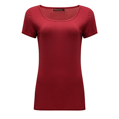 OThread & Co. Women's Short Sleeves T-Shirt Scoop Neck Plain Basic Spandex Tee (Medium, -
