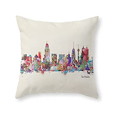 Society6 San Antonio Texas Skyline Throw Pillow Indoor Cover (16  x 16 ) with pillow insert