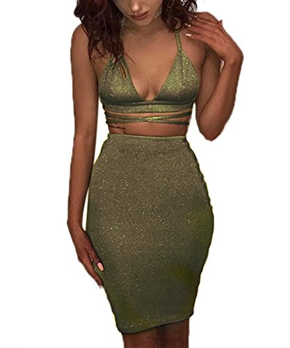 ioiom Ladies Sexy Cut Out Lacing up Outfits Nightclub Special Occasion Dress Sleeveless Birthday Dress Army Green L for $<!--$16.99-->