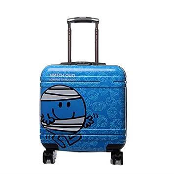 Amio Nueva Maleta para niños Maleta de Regalo de 18 Pulgadas con bastón de Remolque Equipaje de Viaje Escuela Primaria Carro Maleta Equipaje (Color : Azul): ...