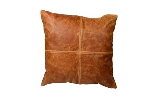 Priti Leather Pillow Tan Pillow Cover Decorative For Couch Throw Pillow Case Brown Leather Cushion Cover Solid Color by