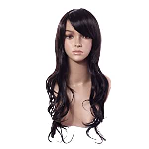 High Quality Long Curly Black Color Classy Soft Hair Full Wig Costume, 2 Colors to Choose (Black)