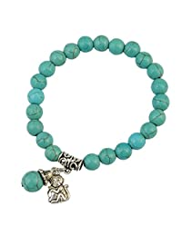 Bohemian Charm Elastic Natural Turquoise Crown Princess Bracelet Own Queen