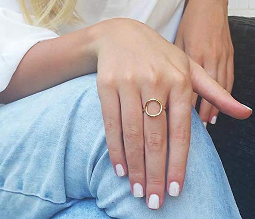 (Gold Filled Open Circle Ring Adjustable Rings for Women Birthday Gifts for Girlfriend Geometric Rings Handmade Stacking Ring)