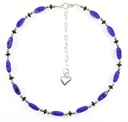 re My True Blue Cobalt Blue Glass Bead Choker Necklace, Silvertone, 16.0 Inches ()