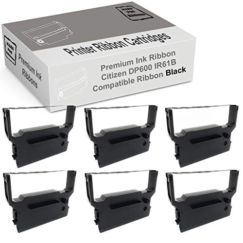 Mars POS Ribbons Compatible with Citizen Ribbon Cartridge Replacement for Citizen DP600 IR61B (Black, 6 Pack)
