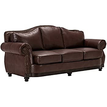 Amazon.com: Homelegance 9616BRW-3 Sofa Bonded Leather, Dark Brown ...