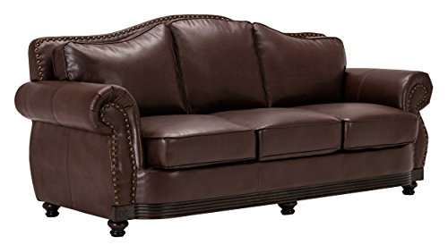 Homelegance 9616BRW-3 Sofa, Dark Brown Bonded - Dark Leather Brown Sofa