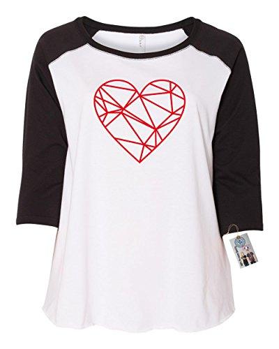 Valentines Day Geometric Heart Shirt Plus Size Womens Raglan Sleeve T Shirt Black White 4X
