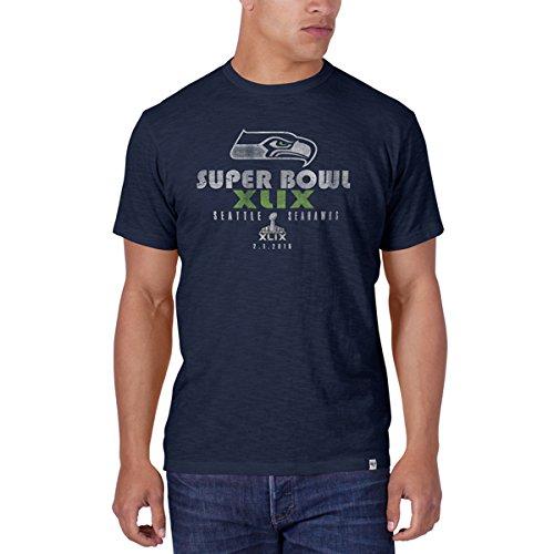 Seattle Seahawks 47 Brand 2015 Super Bowl XLIX Big Logo Navy Scrum T-Shirt