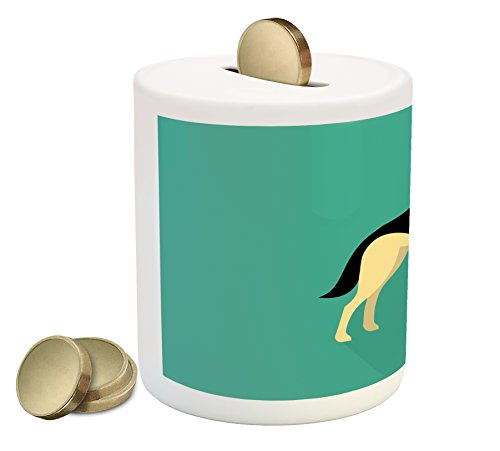German Shepherd Coin Box Bank by Lunarable, Flat Illustration in Simple Style Purebred Tall Canine Animal, Printed Ceramic Coin Bank Money Box for Cash Saving, Sea Green Cream - Style Flat Illustration