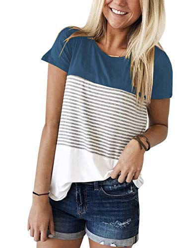LYXIOF Womens Summer Short Sleeve T Shirts Round Neck Stripe Shirts Casual Tops Tees B-Blue L
