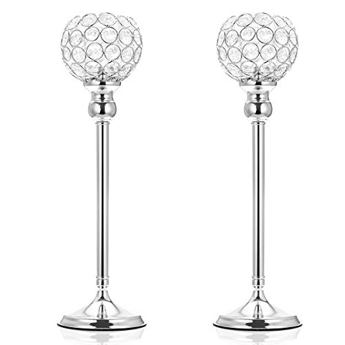 (ManChDa Valentines Gift Silver Crystal Spherical Candle Holders Sets of 2 Wedding Table Centerpieces for Birthday Anniversary Celebration Modern Decoration (Large, 15.8
