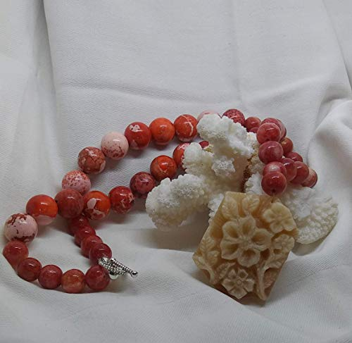 Artisan Beaded Necklace, Rose African Turquoise Round Beads, Carved Flower Natural Jade Gemstone Pendant, Made in the USA