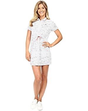 Lacoste Women's Short Sleeve Bungee Cord Waist Geometric Printed Technical Polo Dress