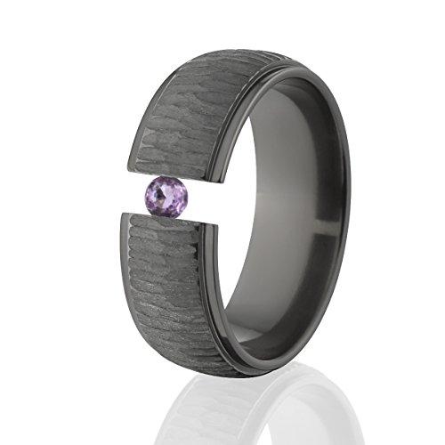 Amethyst Ring Black Zirconium Tension Set Jewelry Stunning Amethyst Band Amethyst Tension Set Ring